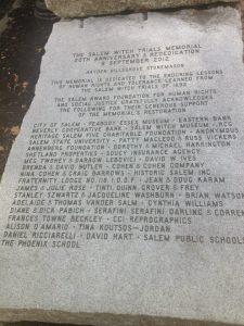 Salem Witch Trial Memorial Plaque